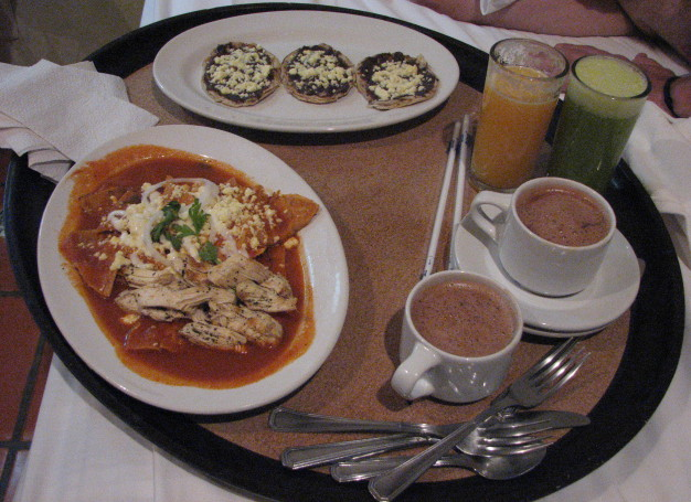 Chilaquiles, memelas, nopal juice, and chocolate, Oaxaca