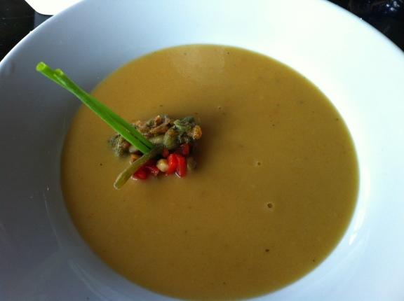 Squash flower blossom soup